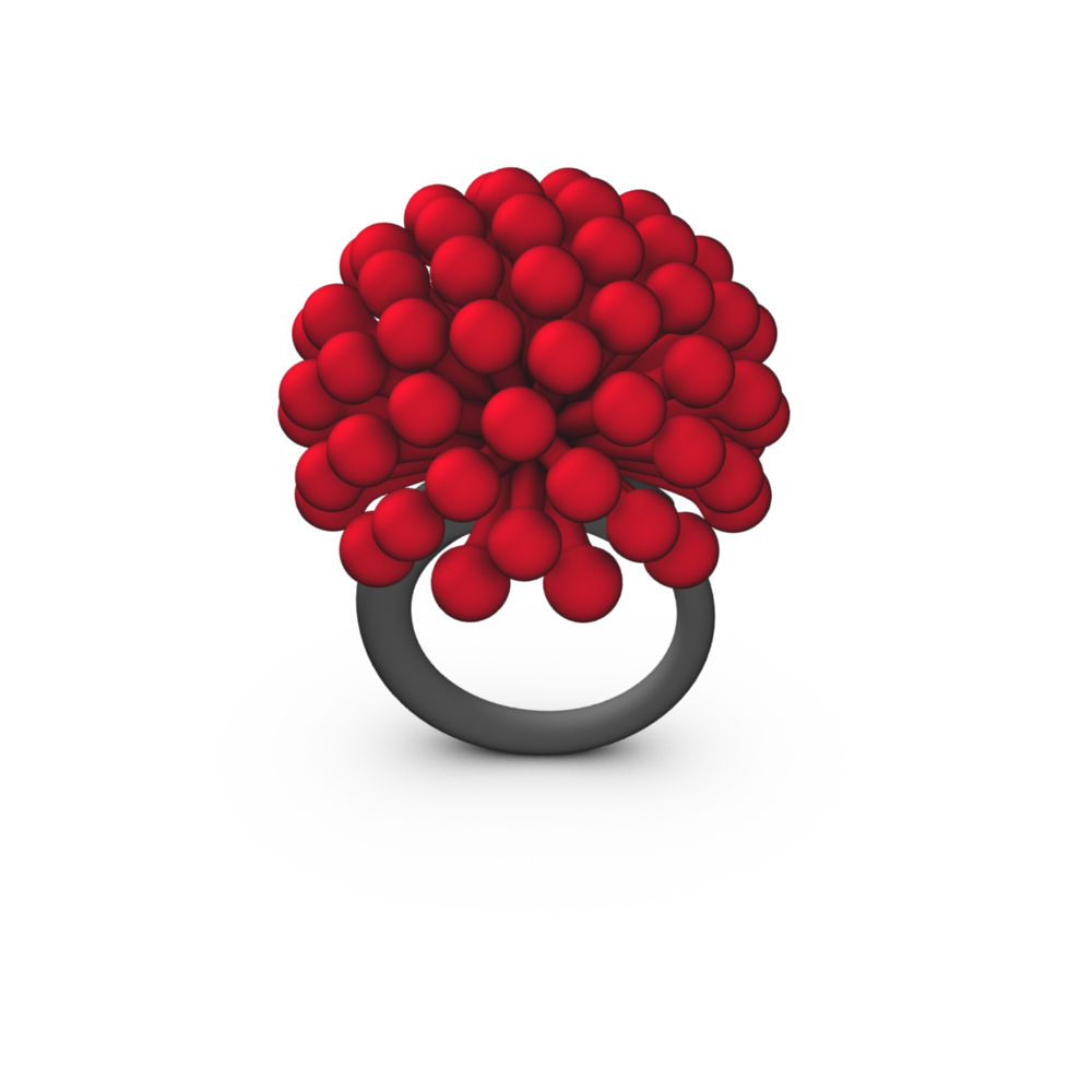 Red 3D Printed Ring