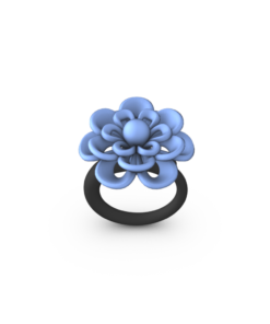 blue 3D Printed Ring