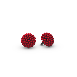 RED 3D PRINTED STUD EARRINGS